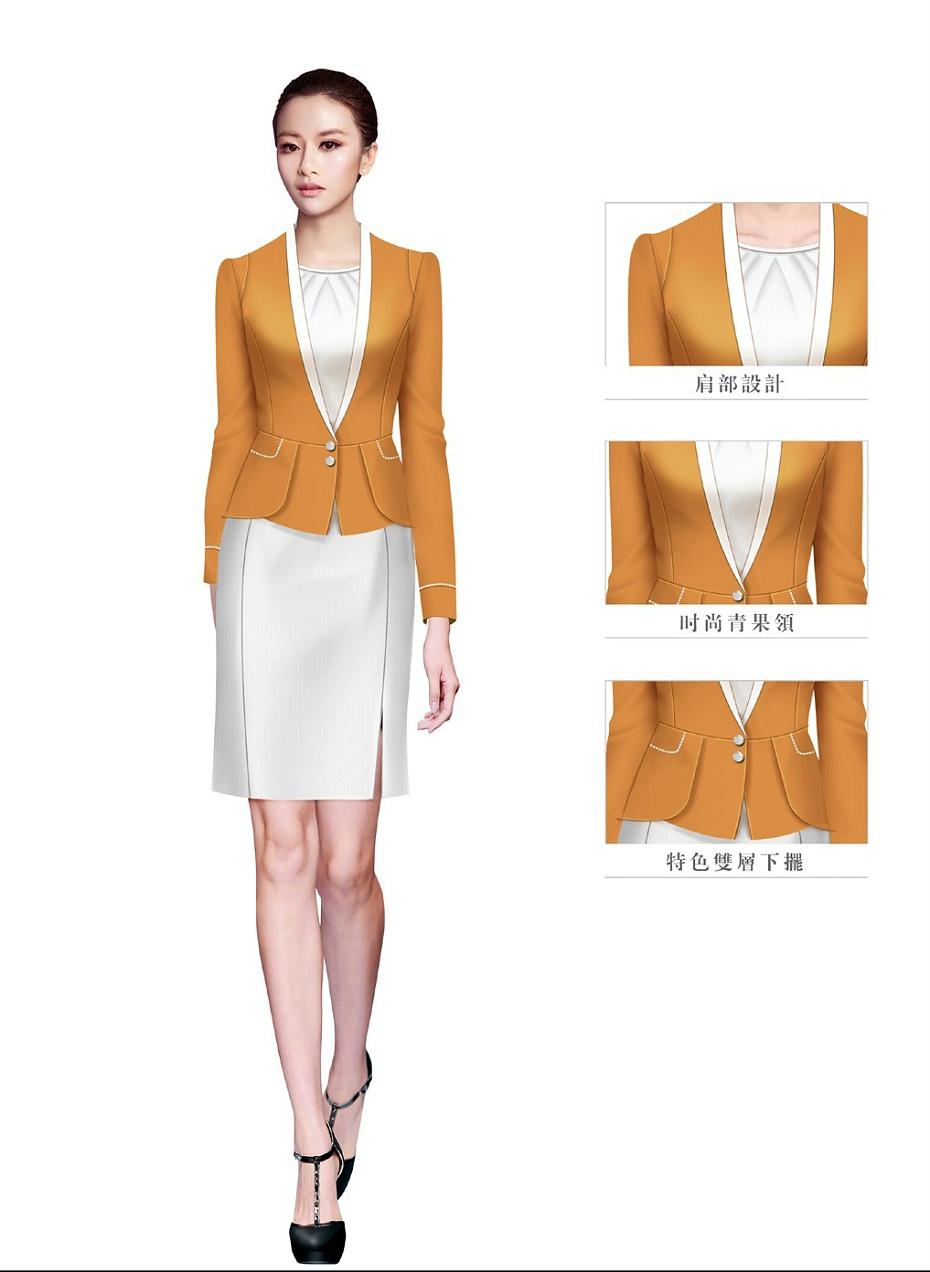 橙色女款酒店大堂经理制服设计图1051