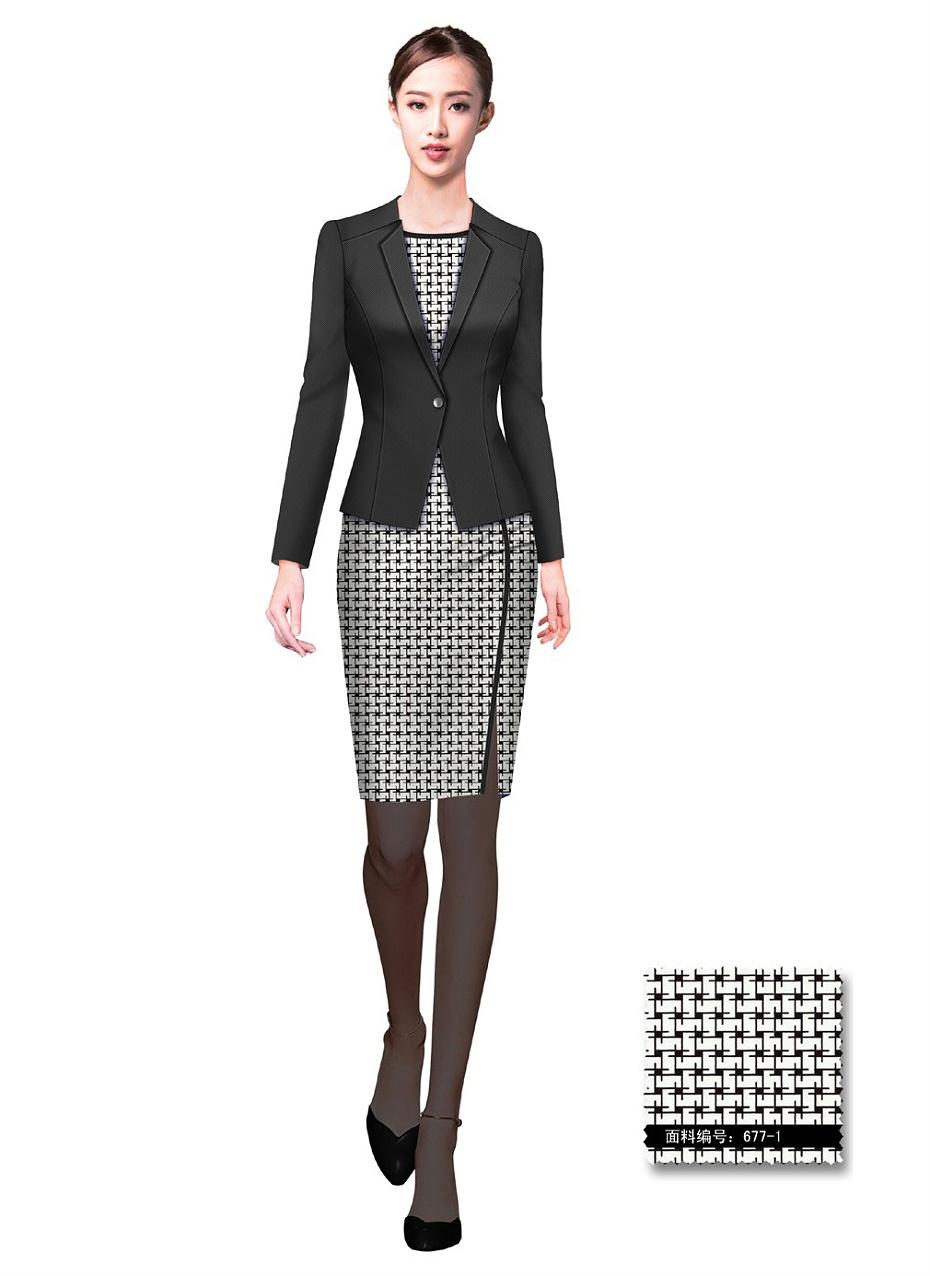 黑色女款裙装酒店总台大堂服务员制服设计图986