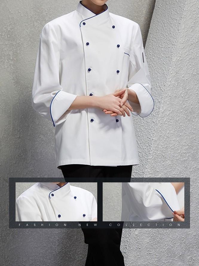 厨师服 白色长袖春秋季厨师工作服男女同款