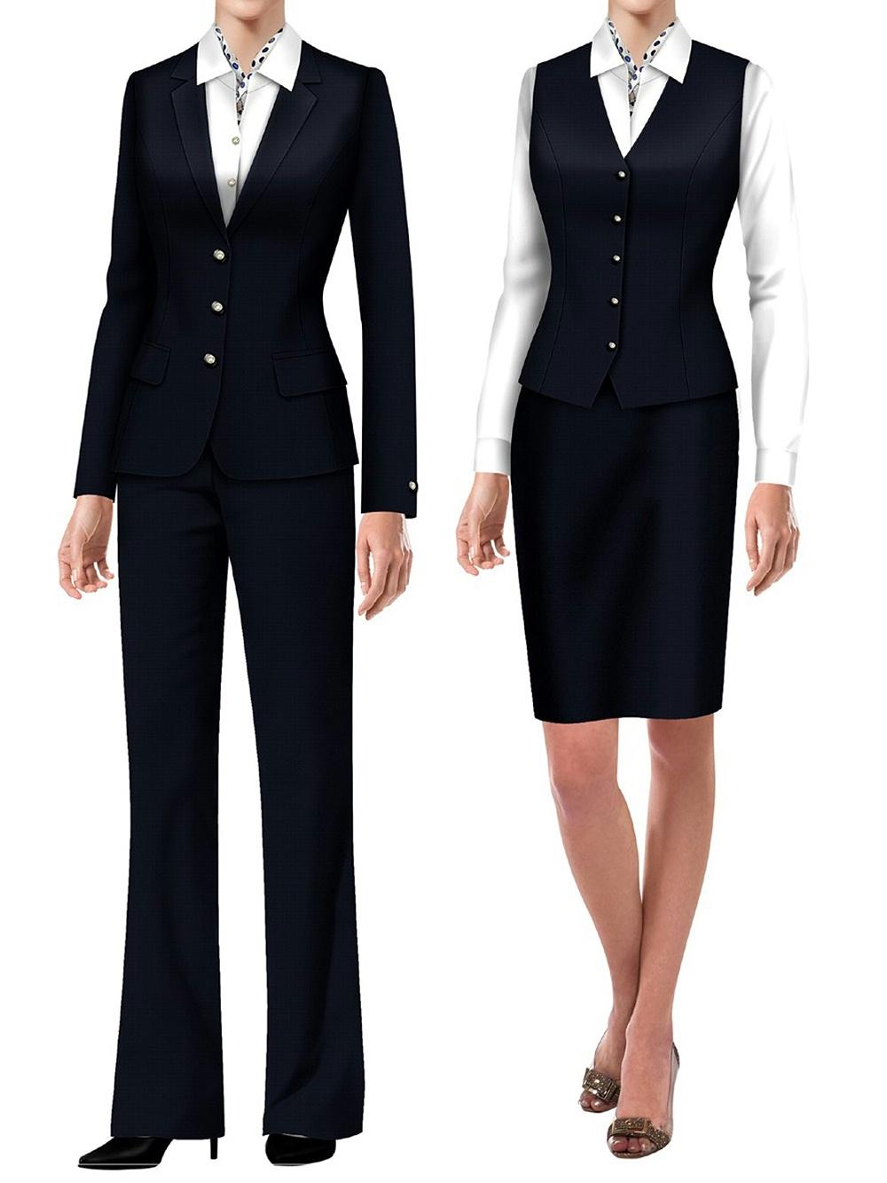 4款银行工作装西服|银行证券公司办公室员工制服 女款