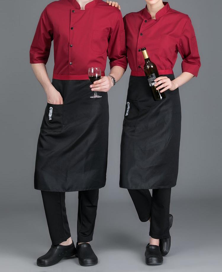 长袖红色厨师服