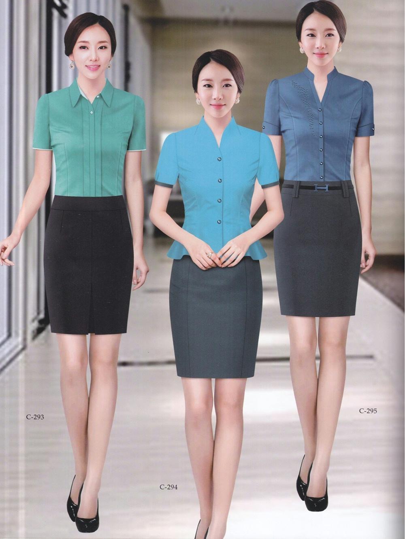 夏季女式前台客服工作服