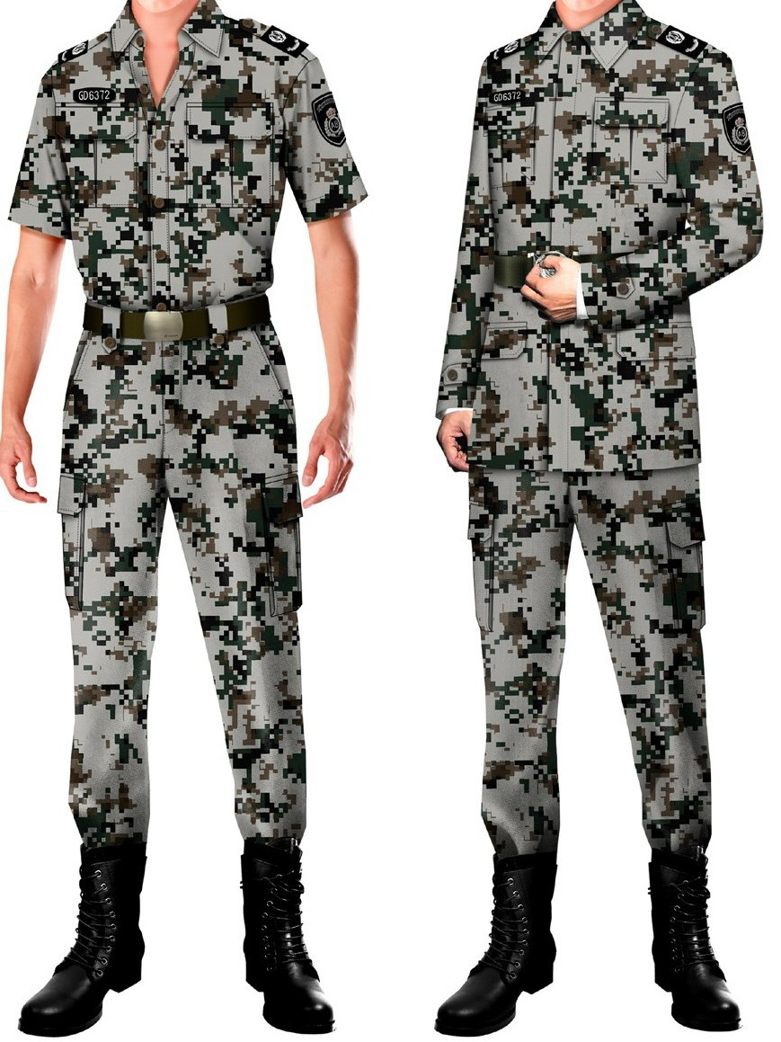 4款保安制服长袖短袖迷彩服军训服批发厂家
