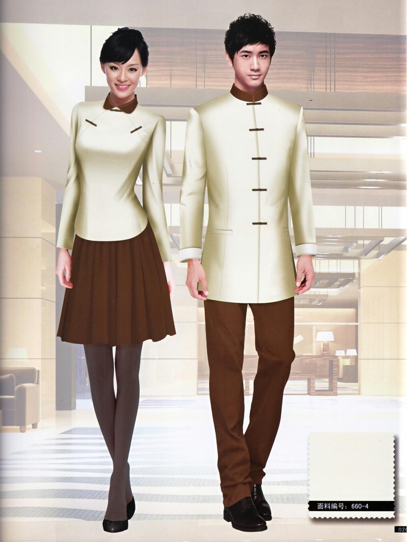 新款秋冬季中式民国风酒店工作服套装