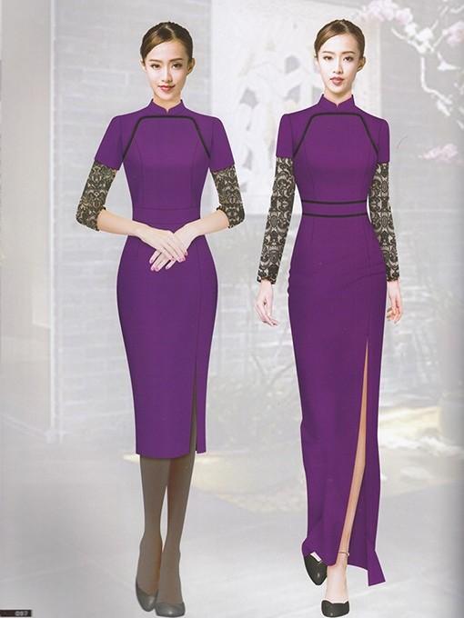 紫色酒店前台服装制服套装