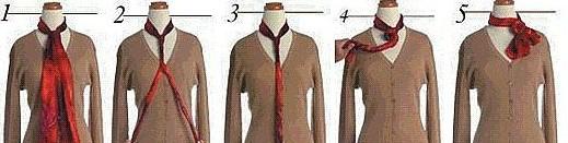 工作服丝巾系法三:玫瑰结——长领丝巾系法